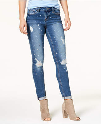 Rampage Juniors' Ripped Embellished Skinny Jeans