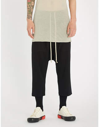 Rick Owens Drawstring relaxed-fit cropped wool trousers