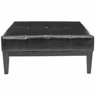 Safavieh Fulton Birchwood Bicast Leather Upholstered Large Square Cocktail Ottoman, Multiple Colors
