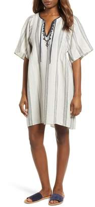 Caslon Stripe Linen Keyhole Shift Dress