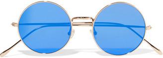 Illesteva - Porto Cervo Round-frame Gold-tone Mirrored Sunglasses - Blue $195 thestylecure.com