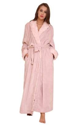 Insun Women s Shawl Collar Winter Warm Thick Long Coral Fleece Bathrobe L 3aecf0c4f