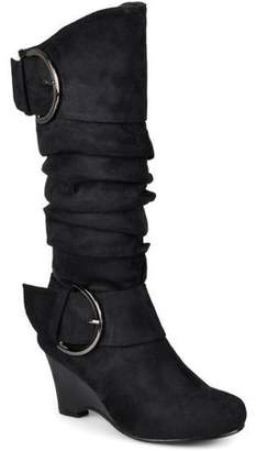 Brinley Co. Women's Faux Suede Buckle Accent Tall Boots