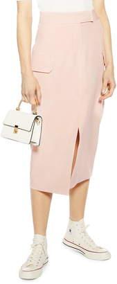 Topshop Split Utility Midi Skirt
