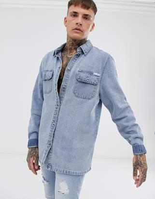 N. Liquor Poker oversized denim shirt in blue wash