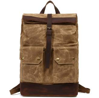 EAZO - Folded Top Waxed Canvas Backpack With Front Pockets In Tan