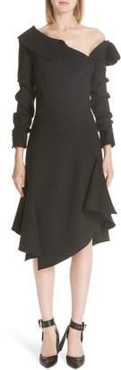 Monse One Shoulder Asymmetrical Stretch Wool Dress