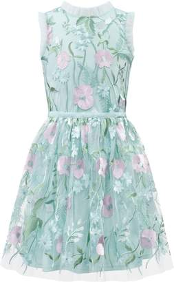 David Charles Pastel Embroidered Tulle Dress