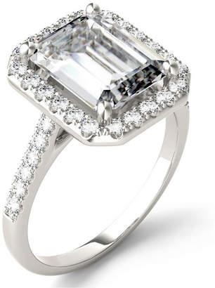 Charles & Colvard Moissanite Emerald Halo Ring (4 ct. tw.) in 14k White Gold