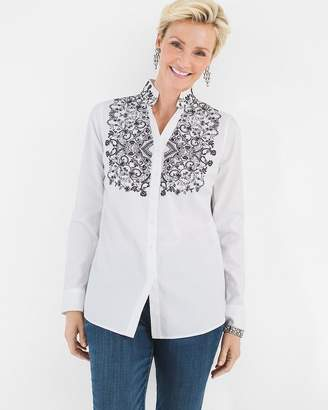 Chico's Chicos Cotton Contrast-Embroidery Shirt