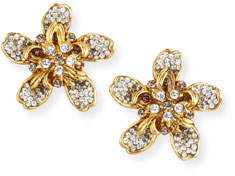 Jose & Maria Barrera Crystal Flower Clip-On Earrings