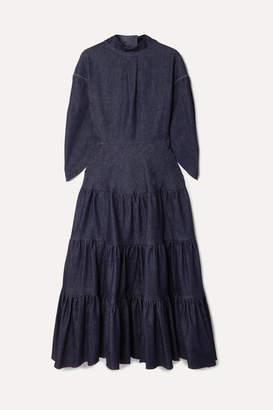 Chloé Tiered Denim Midi Dress - Dark denim