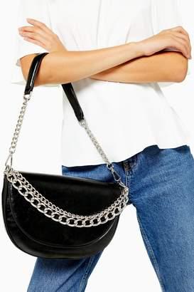 Topshop SPILL Black Chain Shoulder Bag