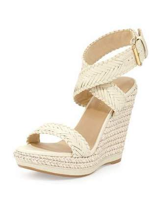 Stuart Weitzman Elixir Braided Leather Wedge Sandal, String $445 thestylecure.com