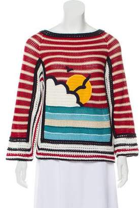 RED Valentino Long Sleeve Wool-Blend Sweater