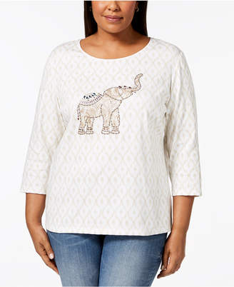 Karen Scott Plus Size Cotton Elephant-Graphic T-Shirt, Created for Macy's