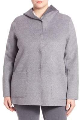 Max Mara Plus Hooded Snap-Front Jacket