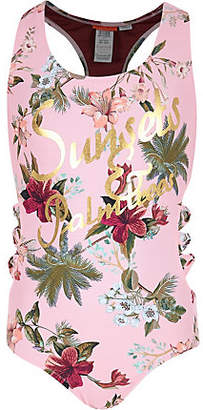 River Island Girls pink floral 'sunsets' bow side swimsuit