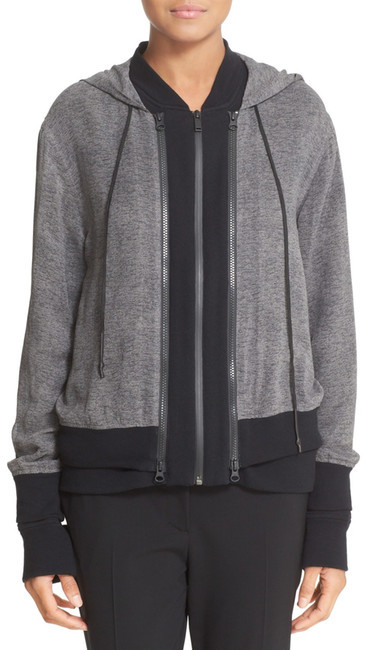 DKNY DKNY Double Layer Silk & Cotton Blend Hoodie