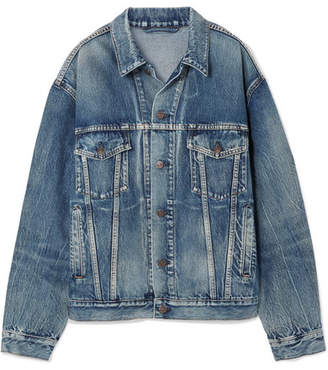 Like A Man Oversized Printed Denim Jacket - Blue