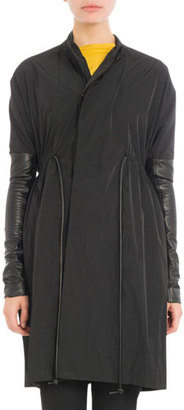 Rick Owens Drawstring Coat w/Leather Sleeves, Black $1,490 thestylecure.com