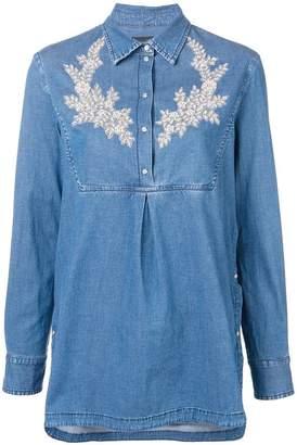 Ermanno Ermanno embroidered denim bib shirt