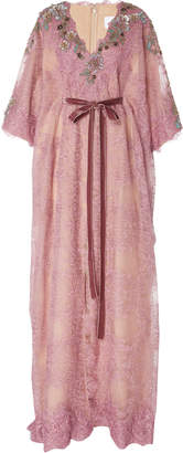 Marchesa Moda Exclusive Metallic Linear Lace Caftan with Floral Appliques