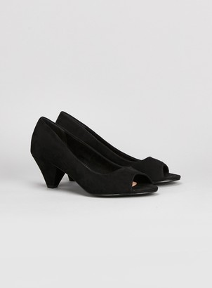 0ac98a2e067 Evans EXTRA WIDE FIT Black Peep Toe Cone Heel Shoes
