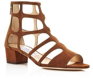 Jimmy Choo Women's Ren 35 Suede Caged Block Heel Sandals