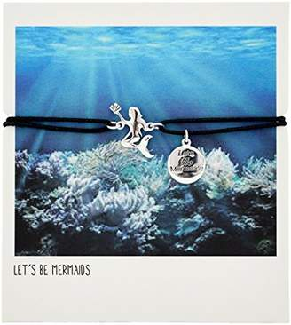 """Adjustable Black Cord with Silver Plated Mermaid and""""Lets Be Mermaids"""" Engraved Coin Charm Bracelet"""