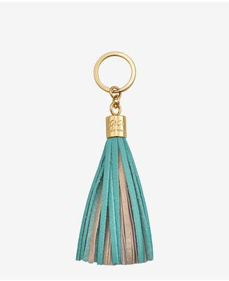 GiGi New York Tassel Key Chain In Bermuda Blue And Gold