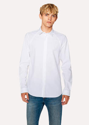 Paul Smith Men's Slim-Fit White Cotton Shirt With 'Cycle Stripe' Cuff Lining