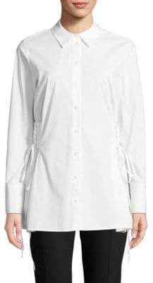 Vince Camuto Side Lace-Up Long-Sleeve Button-Down Shirt
