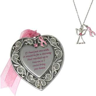 Gloria Duchin 2pc Breast Cancer Awareness Ornament and Necklace Set, 18""