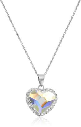 Swarovski Amazon Collection Sterling Silver Elements Two Tone Heart Pendant Necklace
