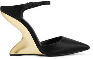 Salvatore Ferragamo Naturno Satin Wedge Mules - Black