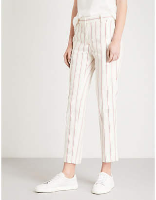 Sandro Striped cropped cotton-blend trousers