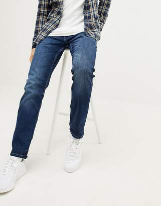 Esprit Organic Straight Fit Jeans In Mid Washed Blue