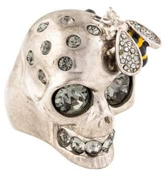 Alexander McQueen Crystal Bee & Skull Cocktail Ring