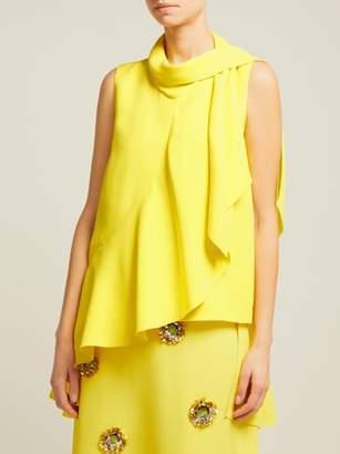 DELPOZO Ruffled Asymmetric Crepe Top - Womens - Yellow