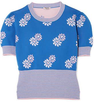 Miu Miu Cropped Intarsia Wool Sweater - Blue