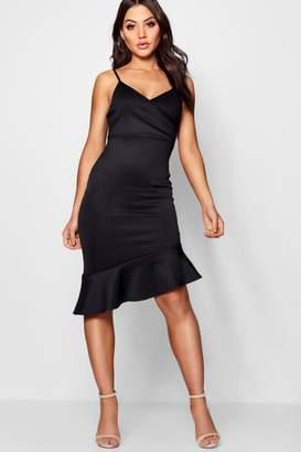 boohoo Cowl Neck Asymmetric Ruffle Midi Dress