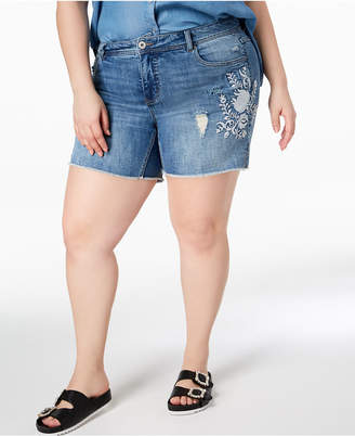 INC International Concepts I.n.c. Plus Size Embroidered Tummy-Control Denim Shorts, Created for Macy's