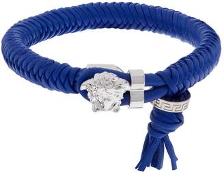 Versace Leather Medusa Clasp Bracelet