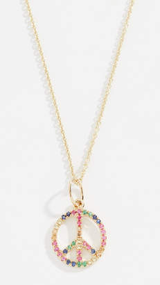 Sydney Evan 14k Rainbow Small Peace Sign Necklace