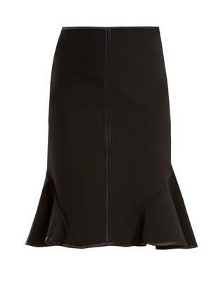 Givenchy - Ruffle Trimmed Stretch Crepe Skirt - Womens - Black