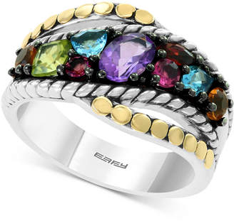 Effy Multi-Gemstone Statement Ring (1-3/8 ct. t.w.) in Sterling Silver & 18k Gold