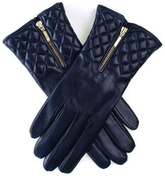 Black Navy Leather Quilted Gloves with Cashmere Lining