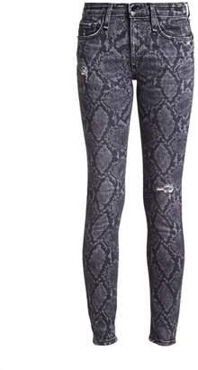 Rag & Bone Cate Mid-Rise Python-Print Distressed Skinny Ankle Jeans