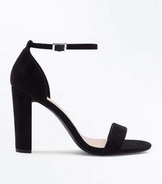 New Look Wide Fit Black Suedette Ankle Strap Block Heels